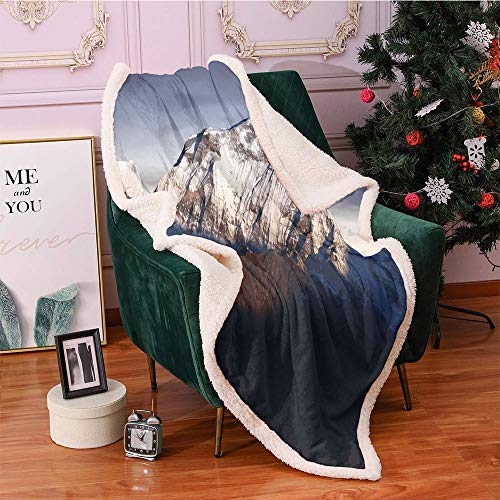 SeptSonne Nepal Plush Blanket,Panoramic Photograph of Mount Dhaulagiri Dramatic Himalayan Nepal Landscape Asia Light Thermal Blanket,Sofa,Soft Cozy Throw Blankets(50x60 Inches,Multicolor)