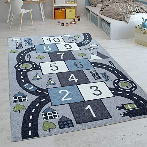Paco Home Kinder-Teppiche, Kurzflor-Teppiche für Kinderzimmer mit vers. Designs Spielteppiche Bunt, Grösse:140x200 cm, Farbe:Grau
