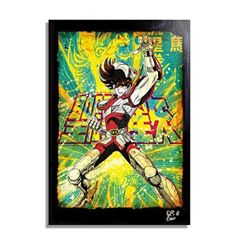 Pegasus de Saint Seiya, Los Caballeros del Zodiaco - Pintura Enmarcado Original, Imagen Pop-Art, Impresion Poster, Impresion en Lienzo, Cuadro, Comics, Cartel de la Pelicula, Anime, Manga