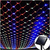 WONFAST Solar Net String Lights, Waterproof 1.5Mx2M 120LED Net Mesh Solar Powered Fairy Icicle String Lights for Outdoor Indoor Garden Christmas Wedding Party Decorations (Multicolor)