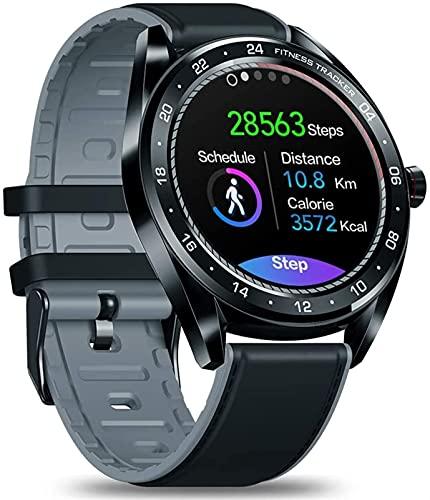 TCHENG Smart Watch 1.3'Pantalla IPS Pantalla de Pulsera Ritmo cardíaco Monitor de presión Arterial Monitor de cronómetro Cámara remota SmartWatch Hombres (Color : Black)
