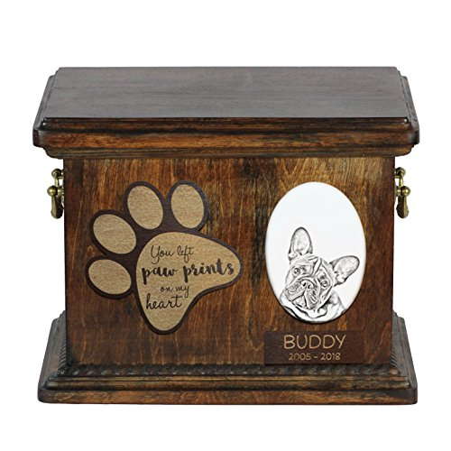 Art Dog Ltd. French Bulldog, urn for dog's ashes with ceramic plate and description
