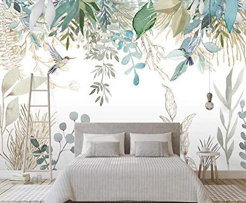 Papel Pintado Pared Papel Plantas Tropicales, Hojas, Flores Y Pájaros. Dormitorio Sala Tv Fondo Decoración de Pared decorativos Murales,300x210cm(ancho x alto)