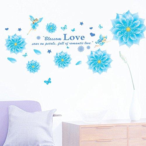 Pegatina de pared de vinilo extraíble con flores azules para decoración del hogar