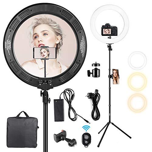 GIM Ringlicht Ringleuchte 19 Zoll Handy Kamera Stativ Kit 48W Dimmbar Farbtemperatur 3200K-6500K Handyhalter Fernbedienung Tragetasche für Photo Studio...