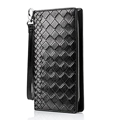 Contacts Mens Genuine Leather Credit Card Phone Holder Clutch Purse Zipper Long Wallet Black