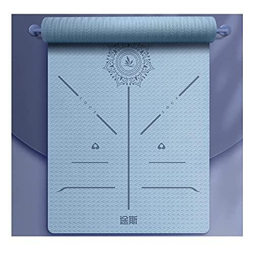 Pkfinrd Estera de Yoga, Espuma Gruesa 6 / 8mm, no resbalón, Equipo de Entrenamiento Ideal para Yoga, Pilates, Gimnasia y meditación, Estera de Entrenamiento ecológico/púrpura / 6mm