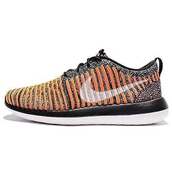 Nike Women s Roshe Two Flyknit Black/White/Bright Mango 844929-005_ Size 5.5