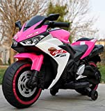 12V Kids Electric Ride On Motorcycle, with Flashing Wheels,LED Lights, Pedals, Rechargeable, Real Driving Sounds & Built-in Music,Suitable for Boys and Girls Aged 3 to 8 (Pink)