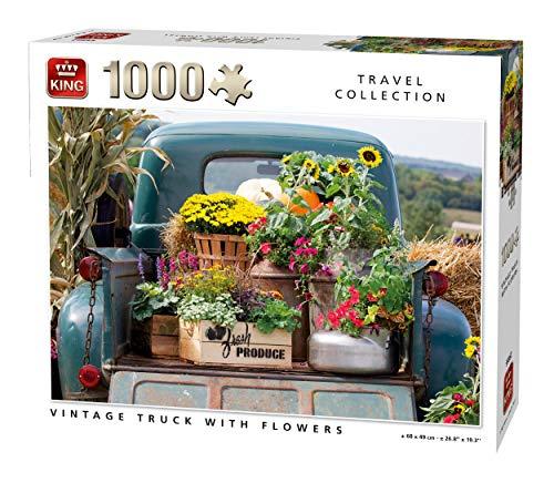 King 55862 - Puzzle de 1000 Piezas, diseño Vintage de camión con Flores, Color Completo, 68 x 49 cm