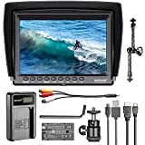 Neewer F100 7-inch 1280x800 IPS Screen Camera Field Monitor Kit: Support 4k input with 2600mAh Rechargeable Li-ion Battery, USB Battery Charger and 11-inch Magic Arm for DSLR Camera/Camcorder
