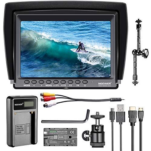Neewer Feldmonitor 7-Zoll 1280x800 IPS Bildschirm Set: Unterstützt 4k Eingang mit 2600mAh Lithium-Ionen-Akku, USB-Ladegerät und Auslegearm für DSLR-Kamera/Camcorder