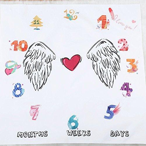 Manta para bebé con hito mensual, manta de hito de bebé recién nacido, fondo de fotografía de utilería, crecimiento mensual, fotografía de tiro, envoltorio de ropa de cama, 100 x 100 cm angel