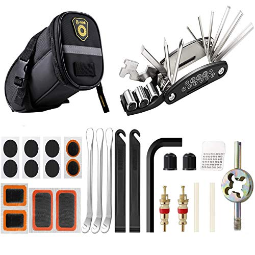 ECHOY Bicycle Repair Kits, 16 in 1 Multi-Function Bicycle Saddle Bag with Repair Kit, Portable Self Adhesive Tube Patch Repair Cycling Tool Set for Mountain Road Bikes