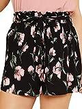 Floerns Women's Plus Size Shorts Summer Casual Floral Elastic Waist Shorts A Black Floral 2XL