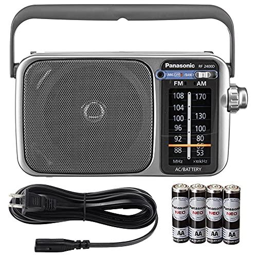 Panasonic RF-2400D / RF-2400 Portable FM/AM Radio with AFC Tuner + 4X Panasonic AA Batteries Bundle Kit