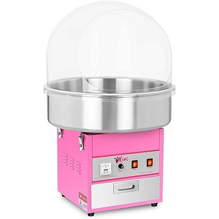 Royal Catering Machine à Barbe à Papa Professionnelle RCZK-1200E (diamètre de la cuve 52 cm, 1.200W, rendement horaire 1 unité/60s, 52x52x50cm, avec couvercle de protection)
