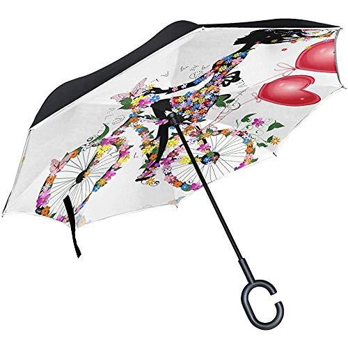 Umgedrehter Regenschirm Pink Fairy Butterfly Girl mit Blumendruck, Doppelschicht-Umkehrschirm wasserdicht für Auto-Regen im Freien mit C-förmigem Griff