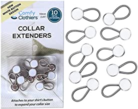 Comfy Clothiers 10-Pack White Collar Extenders - Elastic Extenders for Dress Shirts