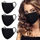 3 Stück Mundschutz Maske Wiederverwendbar, Gesichtsmaske schwarz ,Waschbar stoffmasken Baumwolle Atmungsaktiv Komfort Draussen Mode Gesichtsbedeckung für Damen, Herren