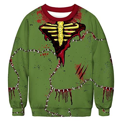 x8jdieu3 Herbst und Winter Halloween Digitaldruck Frauen Rundhals Langarm Pullover lose Shirt Frauen