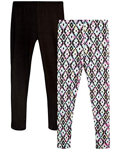 Only Girls Butter-Soft-Touch Printed Yummy Leggings (2-Pack), Black Aztec, Size 8/10'