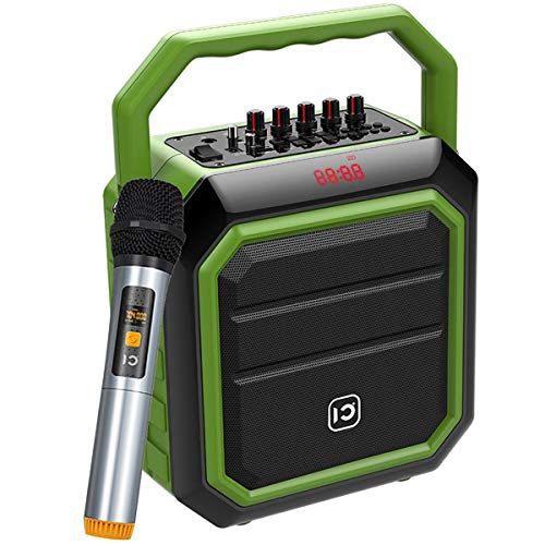 Portable Pa System 30W Bluetooth Pa Speaker Wireless Microphone Rechargeable Indoor Outdoor Party Speaker Portable Sound System with FM Radio/USB/SD Reader for Karaoke Live Performance SD-H2 (Green)