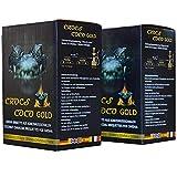 CROCS COCO Carbón para shisha dorado, carbón de coco con larga duración de combustión, pocas cenizas, bajo desarrollo de humo, carbón natural sostenible, cubo para shisha con calidad prémium, 2 kg