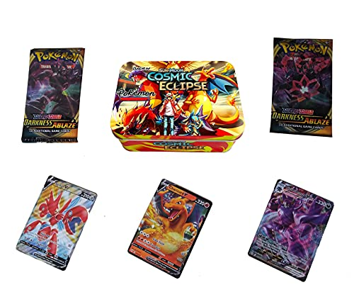 DUNGRANI ENTERPRISE Poke-mon Cards Game Sun & Moon-Cosmic Eclipse with 2 Booster Packs and Cards for All Ages