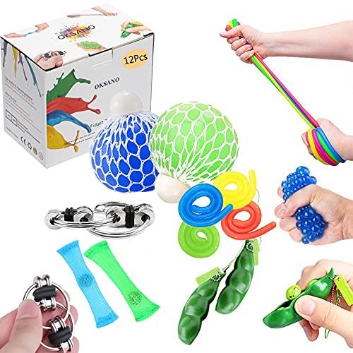 OKSANO Juguetes Sensoriales antiestres 12Pcs, Juguetes Autismo Fidget para niños y Adultos Fid...