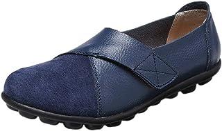 Mallimoda Mocassins Femme Cuir Suédine Patchwork Chaussures Plates Casual Chic Mary Janes avec Scratch