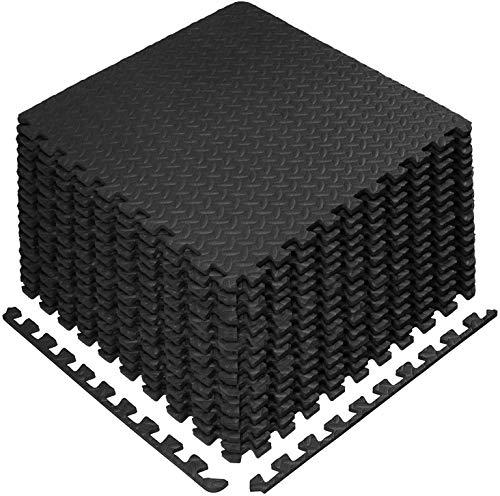 Schutzmatten Set 60 x 60 cm Bodenschutzmatten Trainingsmatten Puzzlematten Unterlegmatten Bodenmatte für Bodenschutz, Büro, Fitnessraum, Garage, Fitnessgeräte (Schwarz-16)