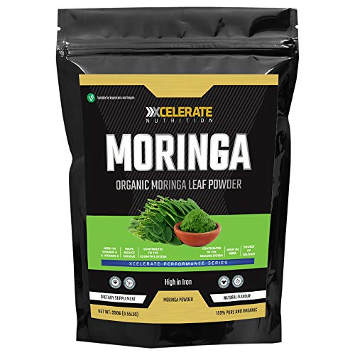 XCelerate Nutrition Organic Moringa Powder 250g - Certified Organic, Premium Quality | Rich in Dietary Fibre, Plant Protein, Minerals & Anti-oxidants | Vegan | Superfood