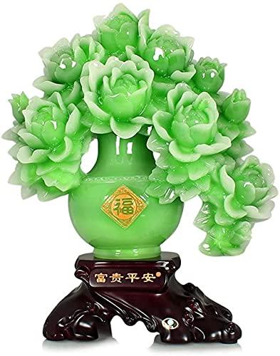 LHMYHHH Fengs de Gran tamaño Shui Color Verde Peonía Flor Estatua Mejor Regalo de congratulatoria para el hogar Atraer Riqueza y Buena Suerte Feng Shui Decor