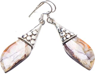 Natural Crazy Lace Agate Handmade Unique 925 Sterling Silver Earrings 2