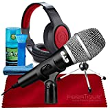 CAD Audio USB U1 Dynamic Recording Microphone with Samson SR360 Over-Ear Dynamic Stereo Headphones and Cleaning Kit