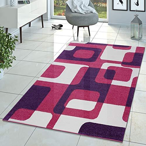 T&T Design Kinderzimmer Teppich Pink Lila Creme Retro Model für Mädchen Zimmer Kurzflor, Größe:60x100 cm