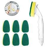 Dishwashing Wand Sponge-LIUMY, Kitchen Scrubber Sponge with 7 Refill Heads, Estropajo,1 Long-Handled Dish Wand, for Washing Bowl, Pot, and Sink