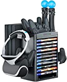 Skywin Charging Station Compatible with PS4 VR Headset - PSVR Charging Stand with Game Disc Rack, Headset and Console Stand, Cooling Fan, Controller Charger and USB Hub - Multipurpose VR Stand