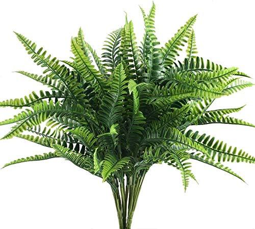 4 Stück Künstliche Pflanzen Persische Blätter Kunstpflanzen Außenbereich Innen Plastikpflanzen Wetterfest Grünpflanzen Deko für Zimmer Balkon Zuhause Garten Büro Hochzeit usw Dekoration