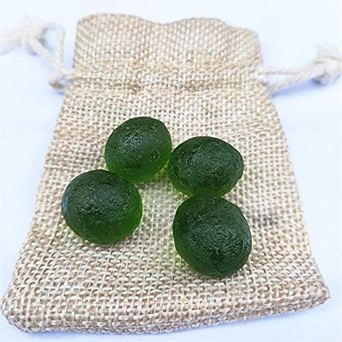 WUBBHIN Cristallo Grezzo 4pcs Green Verde Meteorite Glass Ceco Caduta Ruvida Aerolite Crystal Energy Stone