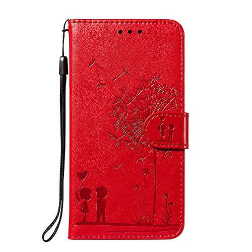 Capa carteira para Galaxy A9 [casal e dente-de-leão] Capa flip para celular Samsung A9/A9s - Vermelho