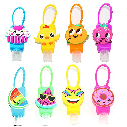 KINIA 8 Pack Mixed Kids Hand Sanitizer Travel Sized Holder Keychain Carriers - 8-1 fl oz Flip Cap Reusable Portable Empty Bottles (8-Variety Pack MIXED)