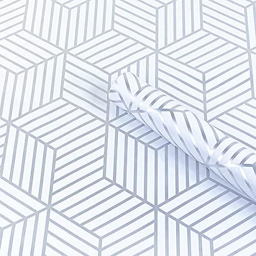 Mesoar Papel pintado despojado de color blanco plateado Hexágono de rayas plateadas, papel adhesivo Peel Stick de película de vinilo para cajón, rollo de plástico de 45 cm por 300 cm