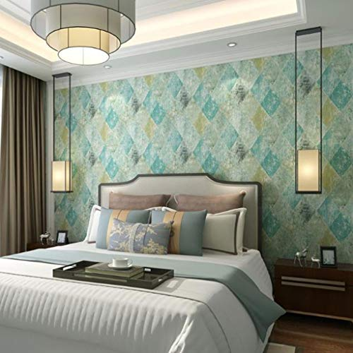 Papel Pintado Wallpaper Papel pintado retro estilo industrial Material PVC del papel pintado rollo imitación de madera del grano de diamante for el dormitorio sala de estar de pared del café de la dec