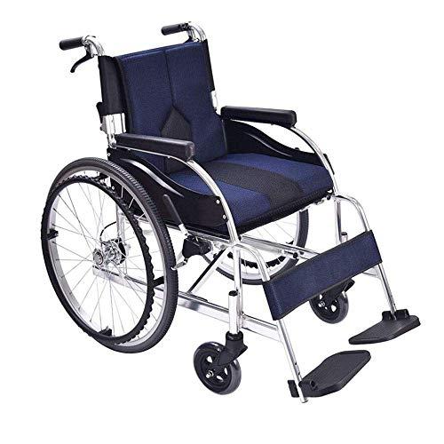 SILOLA Rollstuhl Faltbares Aluminium Leichtgewicht Leicht zu schieben Roller Rollstuhl Ergonomisch geeignet für ältere Menschen und Reisende