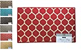 """Fashion Ogee Pattern Rug, Non-Skid Home, Kitchen, Floor Mat, Comfortable Standing and Entrance Rug, 17"""" x 28"""" (Red)"""