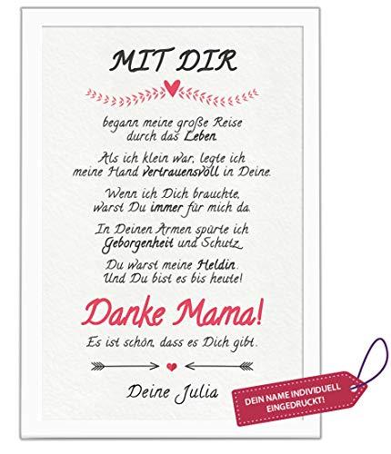 Danke Mama! Bild personalisiert mit Deinem Namen. MIT Rahmen. Geburtstags-Geschenk für Deine Mutti. Dankeschön für die Beste Mutter. Geschenkidee auch zum Muttertag