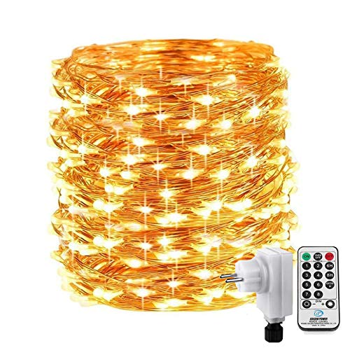Qedertek 200 LED Micro Lichterkette Außen, 20M Kupferdraht Lichterkette Weihnachtsbeleuchtung mit Steckdose, LED-Draht Lichterkette mit Fernbedienung, Weihnachtsdekoration für Garten (WarmWeiß)