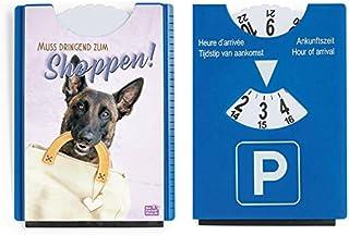 Fun Spaß Motiv Parkscheibe mit Eiskratzer und Gummilippe Shopping Hund 'Muss dringend zum Shoppen'